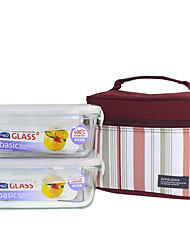 LOCK&LOCK 2/set Kitchen Kitchen Glass Lunch Box 180*130*68mm LLG431S001B