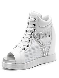 Homme-Décontracté-Noir / Blanc-Talon Plat-Bout Ouvert-Sneakers-Tulle