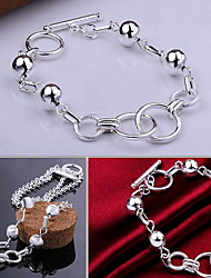 Exquisite Simple Fine S925 Silver Hollow Bead Charm Chain Bracelet for Wedding Party Women Christmas Gifts