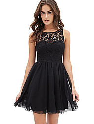 Women's Going out Sophisticated A Line Dress,Patchwork Round Neck Above Knee Sleeveless Black Polyester Summer