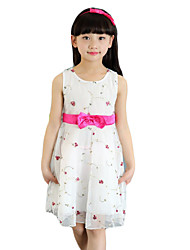 Girl's Casual/Daily Jacquard Dress,Cotton Summer Pink / White