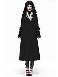 PUNK RAVE winter woman Lolita long fur coat with hoody LY-036