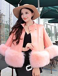 Женский На каждый день Однотонный Пальто с мехом Рубашечный воротник,Простое Зима Розовый / Черный / Серый Длинный рукав,Искусственный мех