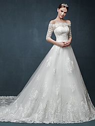 A-line Wedding Dress Floral Lace Cathedral Train Off-the-shoulder Tulle with Appliques Ruffle