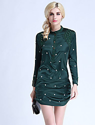 Boutique S Women's Going out Cute Sheath Dress,Solid Round Neck Above Knee Long Sleeve Silk Spring