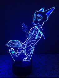raposa toque escurecimento 3D conduziu a luz da noite 7colorful decoração atmosfera lâmpada de luz de Natal iluminação novidade