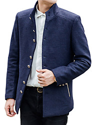 Men's winter woolen coat young men short slim type pure British business casual jacket wool coat