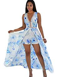 Damen Hülle Kleid-Strand Festtage Retro Boho Blumen Tiefes V Maxi Ärmellos Polyester Sommer Mittlere Hüfthöhe Mikro-elastisch