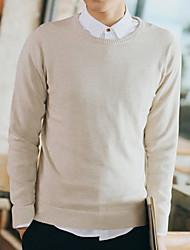 Herren Pullover-Einfarbig Freizeit / Übergröße Baumwolle Lang Blau / Beige / Grau