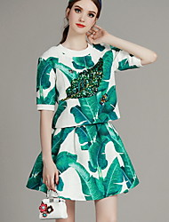 MIUCO Casual/Daily Simple Summer Set,Floral Round Neck ½ Length Sleeve Green Polyester Thin