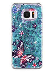 Butterfly Pattern Flowing Quicksand Liquid Glitter Plastic PC For Samsung Galaxy S7 edge Galaxy S7