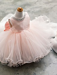 Ball Gown Short / Mini Flower Girl Dress - Tulle Sleeveless Jewel Neck with Beading by YDN