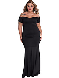 Women's  Black Plus Size Off Shoulder Fishtail Maxi Dress