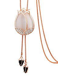 Tulips Pendant Sweater Chain Long Necklace For Best Friends Flower Wedding Party Jewelry Women With Gift Box