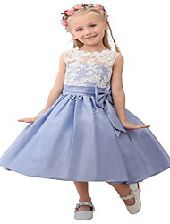 Ball Gown Tea-length Flower Girl Dress - Lace / Taffeta Sleeveless Jewel with Appliques / Bow(s) / Lace / Sash / Ribbon