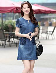 Mujer Vaina Vestido Noche Simple,Un Color Escote Redondo Sobre la rodilla Manga Corta Azul Algodón Verano Tiro Medio Microelástico Medio