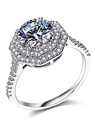 Cubvic Zirconia Wedding Ring Classic 925 Sterling Silver Women's Ring