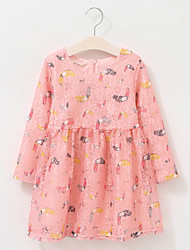 Girl's Cotton Spring/Autumn The Parrot Pattern Lace Princess Long Sleeve Dress