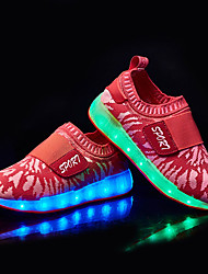 LED Light Up Shoes, Girl's Sneakers Spring Fall Comfort Fabric Outdoor Casual Flat Heel Magic Tape Pink Red