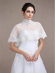 Women's Wrap Capelets Sleeveless Tulle Ivory Wedding / Party/Evening / Casual High Neck Appliques Clasp