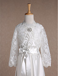 Kids' Wraps Shrugs Long Sleeve Lace Ivory Wedding Party/Evening V-neck 34cm Rhinestone Open Front Clasp