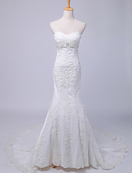 Trumpet / Mermaid Wedding Dress Floral Lace Chapel Train Sweetheart Chiffon Lace Satin with Button Lace Pattern