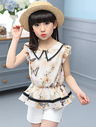 Girl's Casual/Daily Animal Print Clothing Set,Cotton Summer Orange / Gray Suit