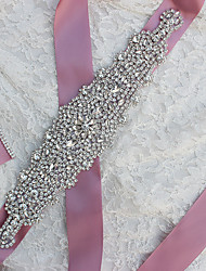 Satin Wedding / Party/ Evening Sash-Rhinestone Women's 106in(270cm) Rhinestone