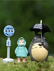 The Bus Station An Umbrella Raincoat Totoro Micro Landscape Potted Flowers Inserted Gardening Ornaments