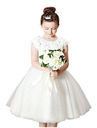 Ball Gown Tea-length Flower Girl Dress - Tulle Short Sleeve Jewel with Appliques / Bow(s) / Lace / Sash / Ribbon