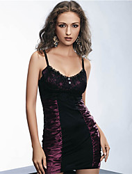 Women Show Curve Fold Sexy Tight Nightclub Dress Purple Stitching Lace Lingerie
