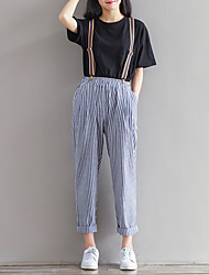 Women's Striped Blue / Black Chinos / Loose Pants,Simple