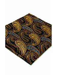 Men's Pocket Square  Silk  Yellow Burgundy Paisley  Jacquard Woven Fashion
