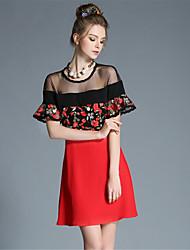 grandes femmes de taille aofuli sexy vintage voir à travers brodé patchwork de fleurs pleat une robe de bloc de couleur de ligne
