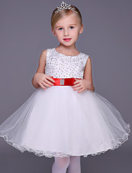 A-line Short / Mini Flower Girl Dress - Tulle Sleeveless Jewel with Beading / Bow(s)