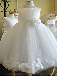 Ball Gown Knee-length Flower Girl Dress - Tulle Sleeveless Jewel with Flower(s)