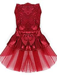 Chien Robe Vêtements pour Chien Eté Printemps/Automne Nœud papillon Mignon Mariage Anniversaire Rouge Bleu Rose Doré
