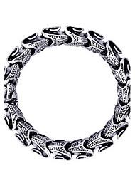 Punk Style Men's 316 Titanium Steel Silver Cross Fine Jewelry Chain Bracelet (21.5*1cm)