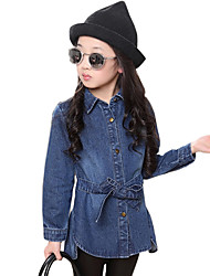 Girl's Cotton Spring/Autumn Fashion Waisting Print Denim Lapel Jacket