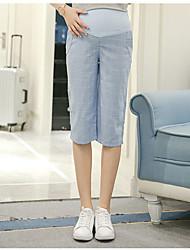 Pantalones Maternidad Chinos Simple Microelástico-Algodón / Lino