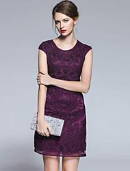 Ample Robe Femme Grandes Tailles simple,Broderie Col Arrondi Au dessus du genou Sans Manches Rose / Violet Rayonne Eté Taille Normale