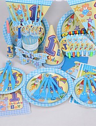 Party Supplies Pack Including Tablewares, Napkins, Invitation Cards, Toys,Tablecloth, Banners, Birthday hat for 6 Guests