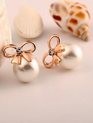 Boucle Forme de Cercle / Forme de Noeud Bijoux 1pc Mode Quotidien / Décontracté Perle / Alliage Femme Doré