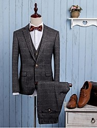 Suits Tailored Fit Notch Single Breasted One-button Polyester Checkered / Gingham 3 Pieces