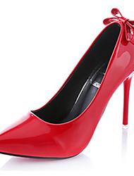 Damen High Heels Lackleder Herbst Hochzeit Schleife Stöckelabsatz Schwarz Grau Purpur Rot 10 - 12 cm
