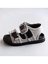 С открытым носком / Сандалии-Дерматин-Сандалии(Черный / Серый)