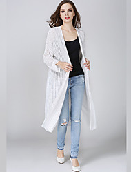 Women's Casual/Daily Simple Fall Cloak/Capes,Solid Round Neck Long Sleeve White Cotton / Polyester Thin