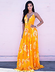 Women's Casual/Daily Sexy Criss-Cross Backless Sheath Dress,Floral Strap Maxi Sleeveless Yellow