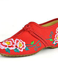 Women's Shoes Canvas Spring / Summer / Fall Mary Jane / Comfort Flats Casual Flat Heel Buckle / Flower Black Red Walking