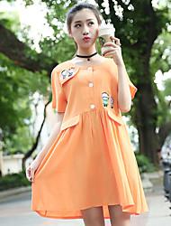 Maternidad Corte Ancho Vestido Casual/Diario Simple,Un Color Escote Redondo Sobre la rodilla Manga Corta Naranja Algodón Verano